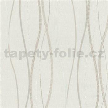 Vliesové tapety na stenu Patchwork - vlnovky bielo-hnedé - ZĽAVA