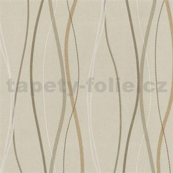 Vliesové tapety na stenu Patchwork - vlnovky okrovo-hnedé