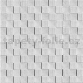 Samolepiace penové 3D panely rozmer 69 x 69,5 cm, 3D drevená šachovnica biela