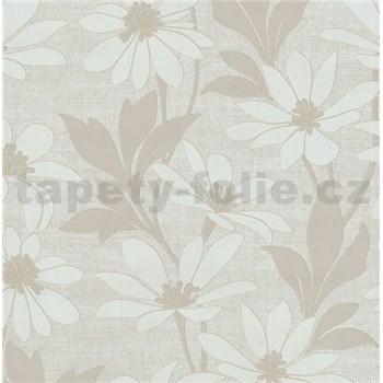 Vliesová tapeta na stenu Polar kvety s listami hnedé
