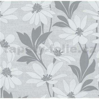 Vliesové tapety na stenu Polar kvety s listy sivé - POSLEDNÉ KUSY
