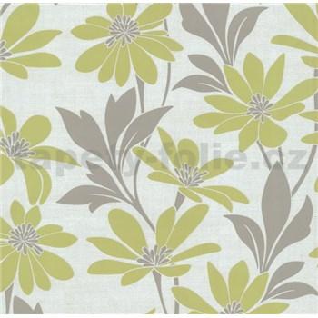Vliesová tapeta na stenu Polar kvety s listami zelené