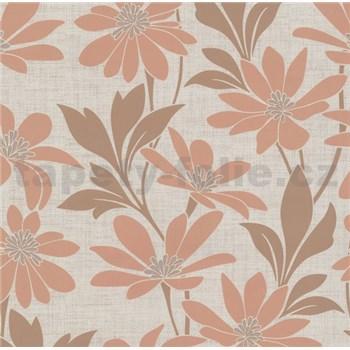 Vliesová tapeta na stenu Polar kvety s listami hnedo-béžové