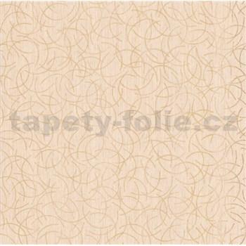Vliesová tapeta na stenu Polar curls béžový so zlatým vzorom