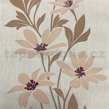 Vliesové tapety na stenu Polar béžové kvety s tmavými lístkami a lesklými detailami - POSLEDNÝ KUS