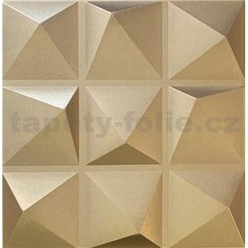 3D panel XPS PYRAMIDS zlatý rozmer 50 x 50 cm