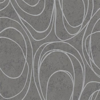 Vliesové tapety WohnSinn Primeur elipsy sivé na tmavo sivom podklade