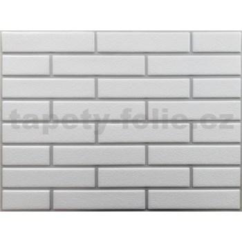 Obkladové 3D PVC panely rozmer 440 x 580 mm tehla biela so striebornou špárou