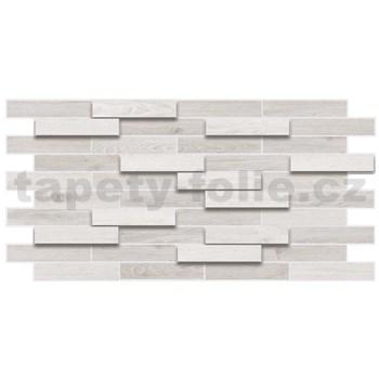 Obkladové 3D PVC panely rozmer 980 x 480 mm drevený obklad dub bielený