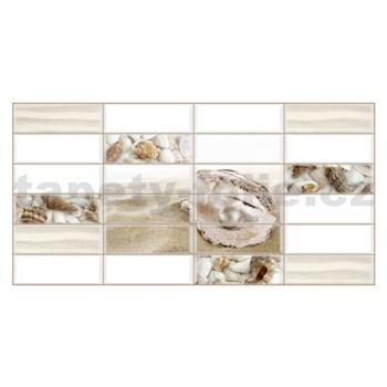 Obkladové 3D PVC panely rozmer 955 x 480 mm biely obklad s mušlí a perlou