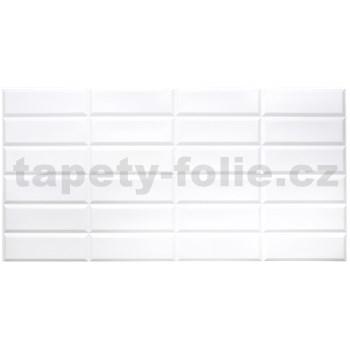 Obkladové 3D PVC panely rozmer 955 x 480 mm obklad biely Metrostyle