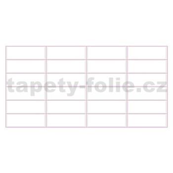 Obkladové 3D PVC panely rozmer 955 x 480 mm biely obklad, ružová škára