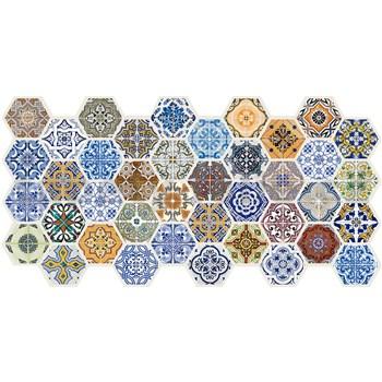 Obkladové 3D PVC panely rozmer 973 x 492 mm hexagon farebný Patchwork