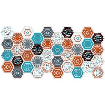 Obkladové 3D PVC panely rozmer 973 x 492 mm, hrúbka 0,02 mm, hexagon moderný Patchwork