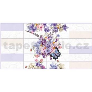 Obkladové 3D PVC panely rozmer 955 x 480 mm kvety s motýle