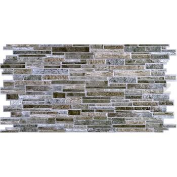 Obkladové 3D PVC panely rozmer 980 x 489 mm, hrúbka 0,4mm, ukládaný kameň sivo-hnedý