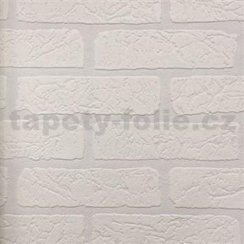 Vliesové tapety na stenu Wallton pretieratelná tehla biela