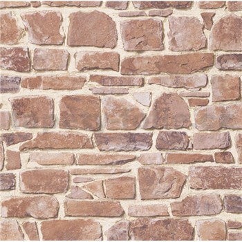Papierové tapety na stenu kameň červeno-hnedy