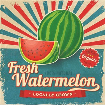 Retro tabula Fresh Watermelon 30 x 30 cm