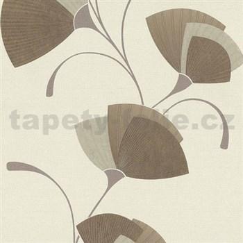 Vliesové tapety na stenu Spotlight - listy svetlo hnedé - POSLEDNÉ KUSY