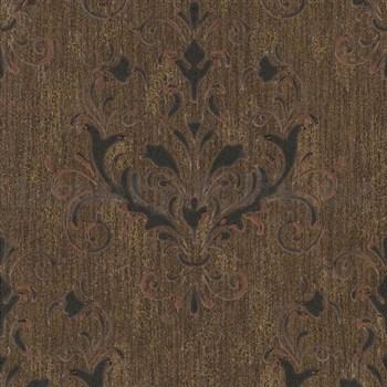 Luxusné vliesové tapety na stenu Spotlight 2 zámocký vzor hnedo-čierny s medenými odleskami