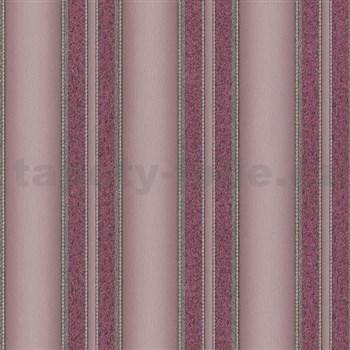 Luxusné vliesové tapety na stenu Spotlight 2 pruhy štruktúrované svetlo a tmavo ružove s trblietkami