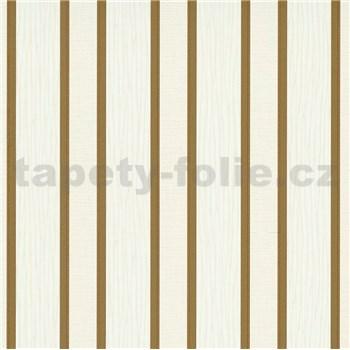 Vliesové tapety na stenu IMPOL Spotlight 3 pruhy hnedo-zlaté