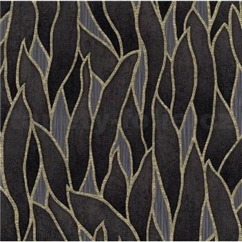 Vliesové tapety na stenu IMPOL Spotlight 3 popínavé listy čierno-zlaté na sivom podklade