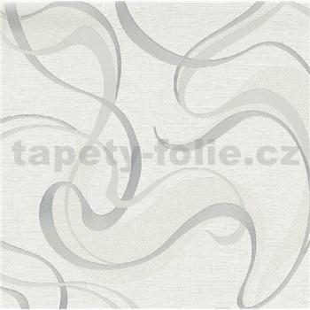 Vliesové tapety na stenu IMPOL Spotlight 3 moderné vlnovky strieborné na bielom podklade