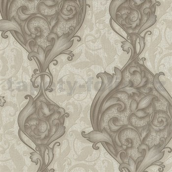 Vliesové tapety na stenu Studio Line - Opulent zámocké ornamenty hnedej s leskom