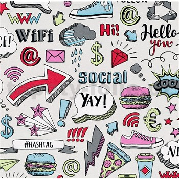 Vliesové tapety na stenu IMPOL Sweet and Cool Hashtag farebné