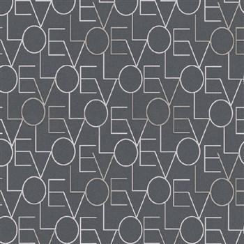 Vliesové tapety na stenu IMPOL Sweet and Cool LOVE tmavo sivé