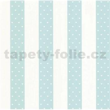 Vliesové tapety na stenu Sweet & Cool pruhy bielo-modré so srdiečkami