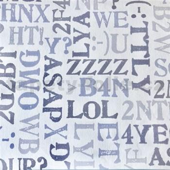 Vliesové tapety na stenu Sweet & Cool pismená s trblietkami na bielom podklade sivá - POSLEDNÉ KUSY