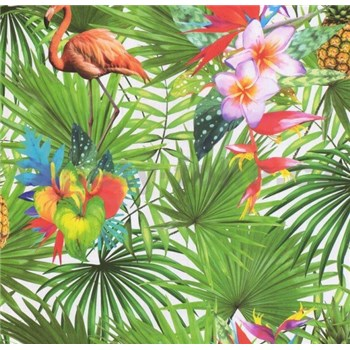 Papierové tapety na stenu Sweet & Cool palmy s plameniakmi a kvetmi