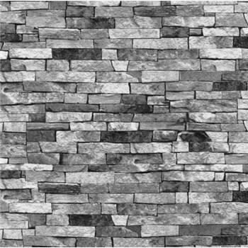 Tapety na stenu papierové - drevený klinker bielo-šedo-čierny