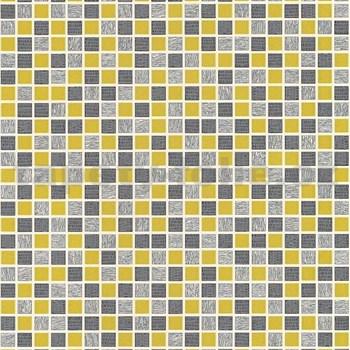 Vinylové tapety na stenu kachličky mozaika sivo-žltá