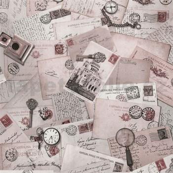 Vliesové tapety na stenu Times pohľadnice ružové