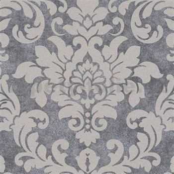 Vliesové tapety na stenu Trendwall barokný vzor hnedý s trblietkami na metalickom podklade