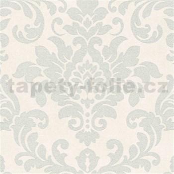 Vliesové tapety na stenu Trendwall barokný vzor strieborný na krémovom podklade