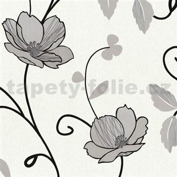 Tapety na stenu Trésor Reloaded - japonské kvety - strieborné