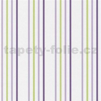 Papierové tapety na stenu Tribute - pruhy fialové, zelené na bielom podklade