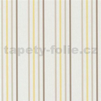 Papierové tapety na stenu Tribute - pruhy žlto-hnedé na krémovom podklade