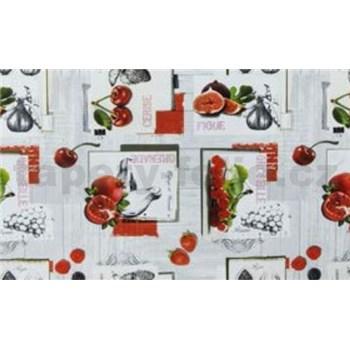 Obrusy návin 20 m x 140 cm ovocie farebné na sivom podklade