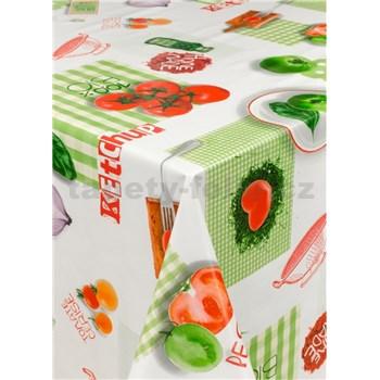 Obrus metráž zelenina červeno-zelená