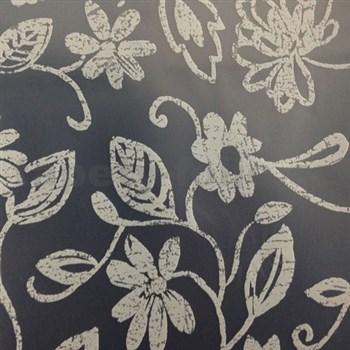 Obrus metráž transparentný obrus s bielym kvetmi matný povrch