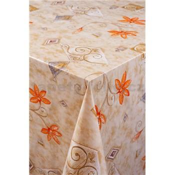 Obrus metráž kvet oranžovo-hnedý