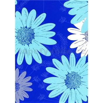 Obrus metráž kvety modré