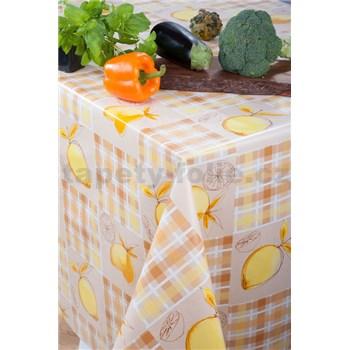 Obrus metráž citróny na krémovom podklade