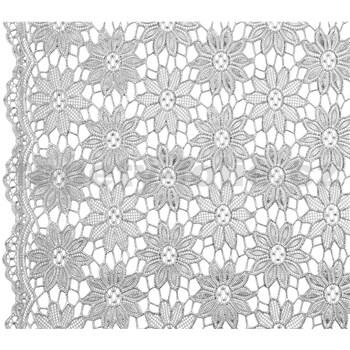 Behúň na stôl š.50cm kvetinky strieborné